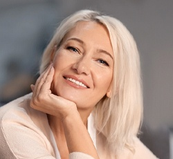 older attractive woman white hair