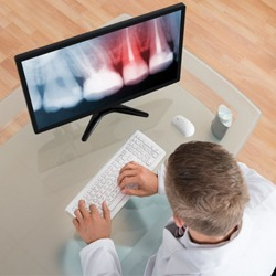 A dentist examining an X-ray on a computer.